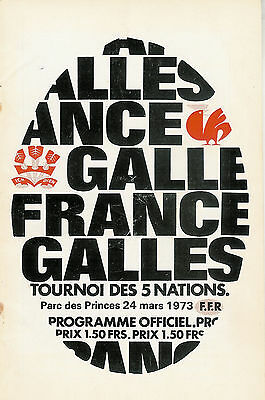 FRANCE v WALES 1973 in Paris RUGBY PROGRAMME
