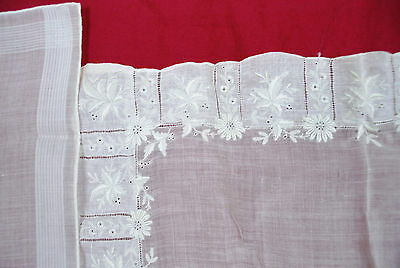 Antique Victorian 2 Handkerchief Embroidery Micro Floral Whitework