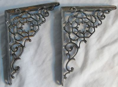 One Set Of Antique Cast Iron Ornate Shelf Brackets