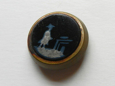 Antique Black Glass Painted Oriental Picture Button Mounted Metal Brass Border