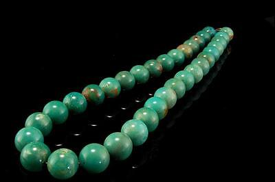 VINTAGE CHINESE GREEN TURQUOISE BEADS 11 mm SILVER NECKLACE D68-05