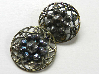 Lot Set of 2 Similar Antique Victorian Open Work Buttons Cut Steel Facets