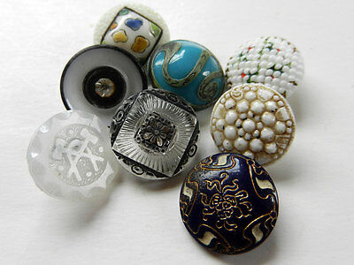 Beautiful Variety Lot of 8 Antique Victorian Glass Buttons
