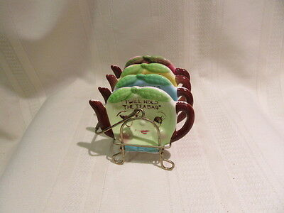 Vintage Anthropomorphic Teapot Tea Bag Holders With Caddy Made In Japan