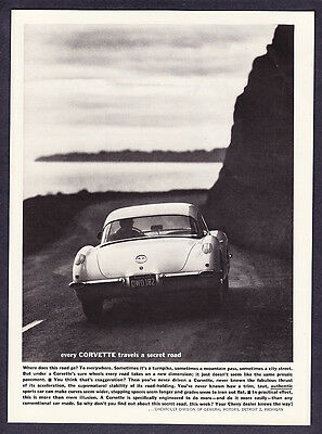 "1960 Chevrolet Corvette photo ""Travels a Secret Road"" promo print ad"