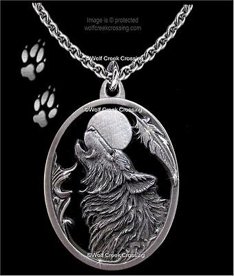 Moon Song Wolf Necklace - Diamond Cut Wolves Eagle Feather Gift - Free Ship C24