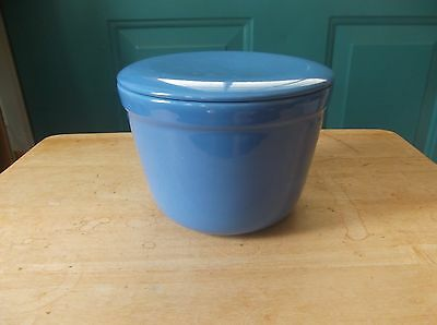 Vintage Blue Pottery Oxford Ware Refrigerator Dish or Mixing Bowl with Lid