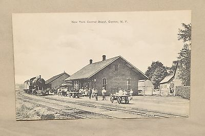 Vintage Postcard New York Central Depot Canton NY Steam Engine