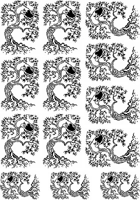"Twisting Trees  5"" X 3.5"" Card Black Fused Glass Decals 17CC848"