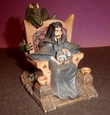 Mystical Figure King on Throne with Dragon
