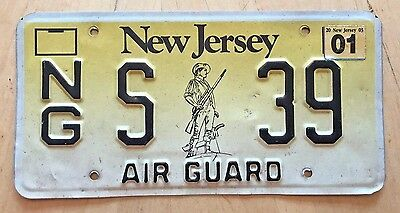 "New Jersey Air Force National Guard License Plate "" S 39 ""  Air Guard Military"