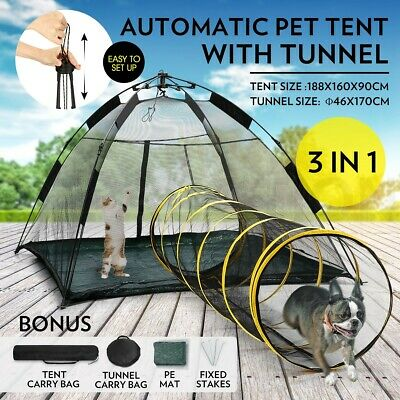 Pop-up Pup Tent Portable Pet Pent for Dogs Cats Outdoor Cat Tent with Tunnel