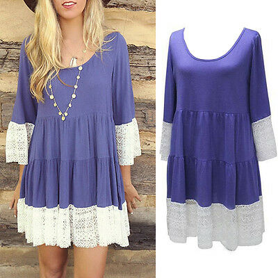 New Fashion Women Long Sleeve Shirt Casual Lace Blouse Loose Cotton Tops Dresses