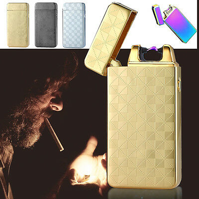 Electric Windproof Metal Cigarette Lighter Rechargeable Flameless USB Single-Arc