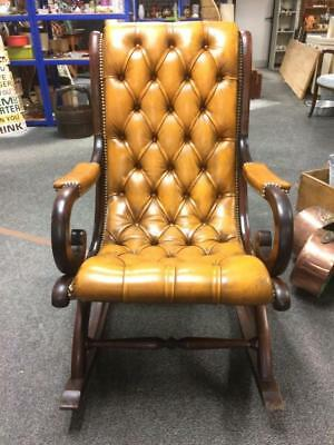 Vintage Dark Mahogany Framed And Leather Upholstered Chesterfield Rocking Chair