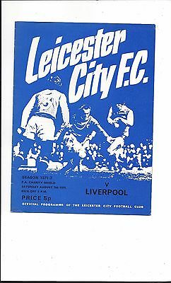 LEICESTER CITY v LIVERPOOL 1971 CHARITY SHIELD SUPERB CONDITION FREE POSTAGE