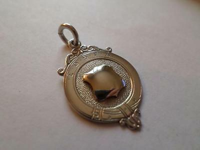 Antique Vintage Sterling Silver Pocket Watch Chain Fob. Old Hallmarked Medal