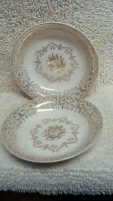 (2) vintage marked EDWIN M KNOWLES 22 K GOLD FILIGREE  7 3/4 round bowls exc