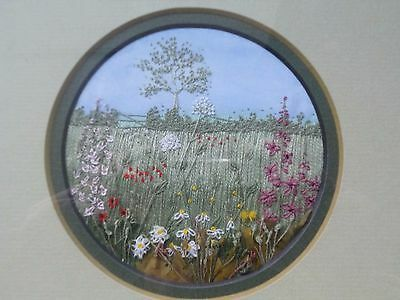 Vintage Hand Embroidered Mixed Media English  Flowers Picture