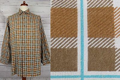 Vtg Brown / Teal Check Overhead Smock Cotton Chore Worker Shirt  -L- CZ02