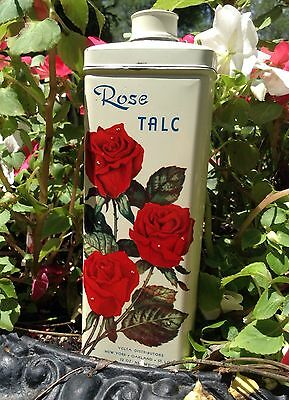 Vintage ROSE TALC Tin 12 OZ full Container Vella Distributors EXCELLENT Cond.
