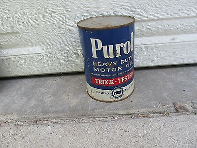 Old Purol HD Motor Oil Quart Can / Pure Truck Stop / Sealed w Contents /Has Dent