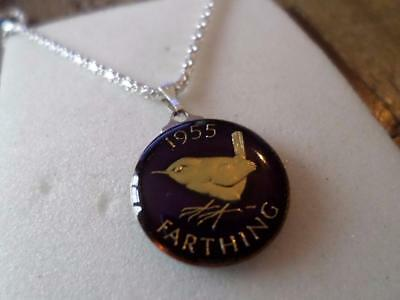 Vintage Enamelled Farthing Coin 1955 Pendant & Necklace. Great Birthday Present