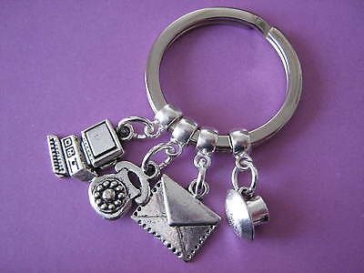 Secretary Keyring Receptionist Office Admin Computer Phone Letter Teacup Charms
