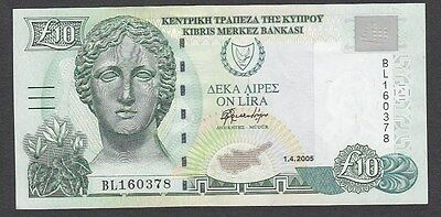 10 Pounds From Cyprus  2005 Unc