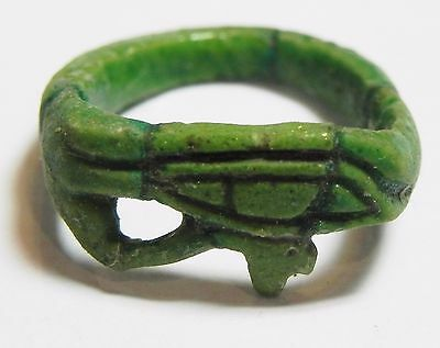 Zurqieh -Af2446-  Ancient Egypt. Time Of King Tut Faience Ring.  Eye Of Horus