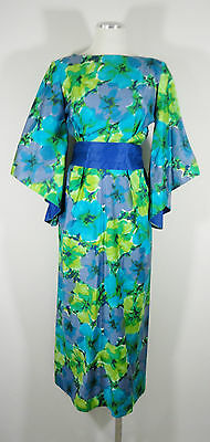 VTG Bright Hawaiian Costume Kimono Dolman Bat Sleeve Empire Waist Dress sz Med
