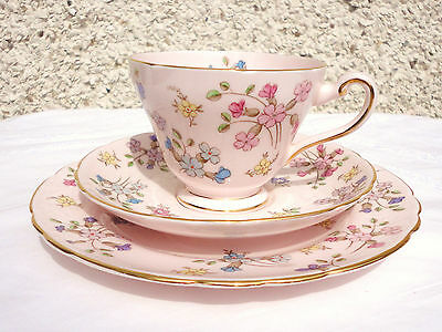 Tuscan Pink Tea cup Saucer Tea plate Trio vintage tea set High Tea Party china