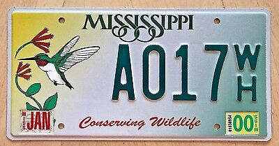 """Mississippi  License Plate """" A 017 Wh """"  Conserve Wildlife  Hummingbird  Ms Bird"""