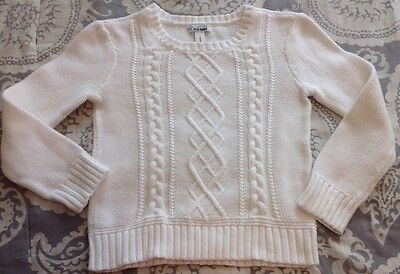 Girl's Old Navy Cable Knit Sweater Sz M 8 White Top Pull-Over Long-Sleeve