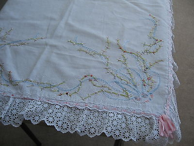 Handmade Satin Ribbon Embroidered Baby Blanket/Crib Spread WOW!!