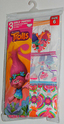 New Dreamworks Trolls Poppy Branch Girls White Pink Panties Underwear Sz 6
