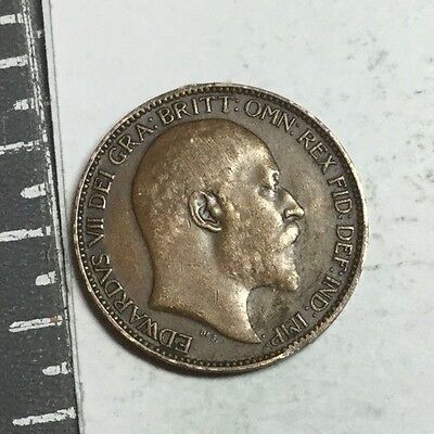 GREAT BRITAIN 1908 farthing coin, excellent condition