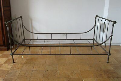 ANTIQUE 19th CENTURY circa 1850 FRENCH IRON & BRASS DAY BED