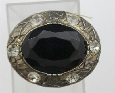 Vintage Checkerboard Faceted Dark Glass Stone Antiqued Silver Bezel Brooch Jewel