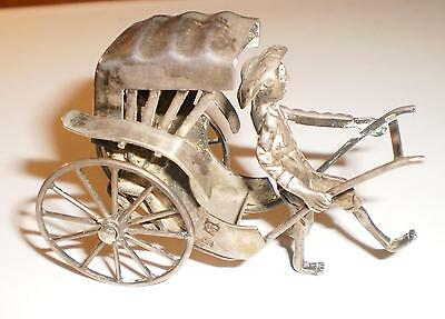 Vintage Chinese Export Silver Mechanical Rickshaw Figure Rare