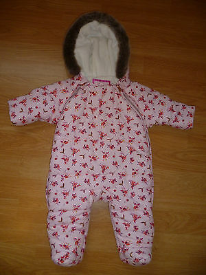 Girls Designer TED BAKER Pink Floral Quilted Hooded All In One Snowsuit 0-3 mth