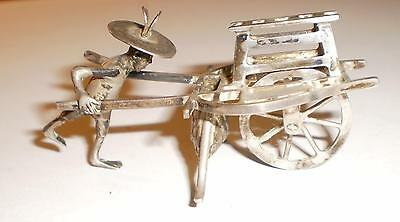 Vintage Chinese Export Silver Mechanical Rickshaw Market Figure Rare