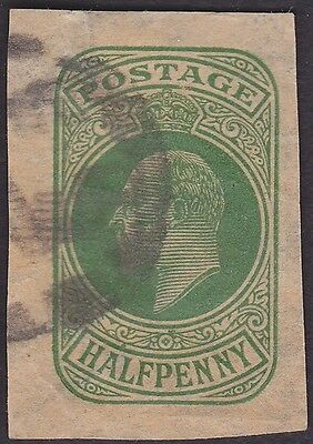 Great Britain - 1/2 Penny Green King Edward VII Cut Square - Fine - Very Fine +