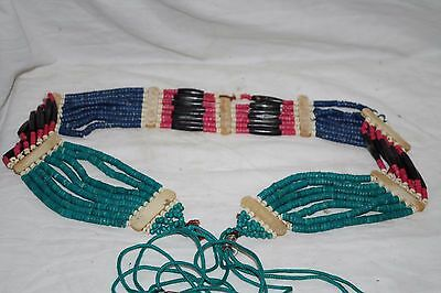 VINTAGE WESTERN or MEXICAN BEADED BELT CARVED