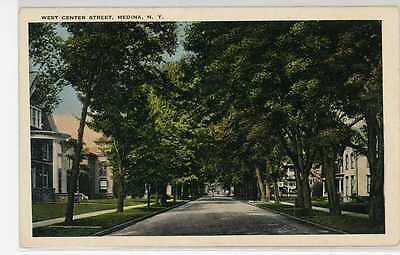Old Medina Ny West Center Street Shelby & Ridgeway Orleans County Postcard