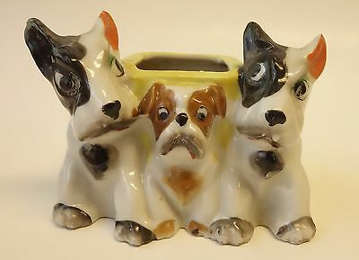 Vintage Planter Holder Figurine Made In Japan Three 3 Dogs - Bulldog & Terriers