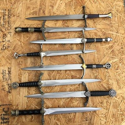 Flea Set 8 x Assorted Fixed Blade Daggers Medieval Style New With Scabbards -W