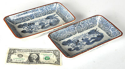 TWO Vintage Takokarakusa Japanese Blue & White Dragon Serving Candy Butter Dish