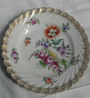 "Antique German Dresden Hand Painted And Gilded Porcelain Plate 19Thc 6 3/4"" (1)"