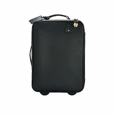 "Ralph Lauren Purple Label Black Leather 20"" Wheeled Trolley Suitcase New $1750"